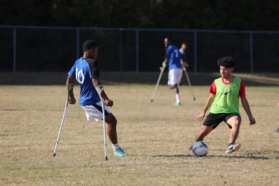 Students from CCHS played a special-rules scrimmage against the Haitian National Amputee Soccer team during a stop on their tour to spread a message of hope.