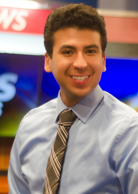 Marco Revuelta as a weekend anchor and reporter at a TV news station in Laredo.