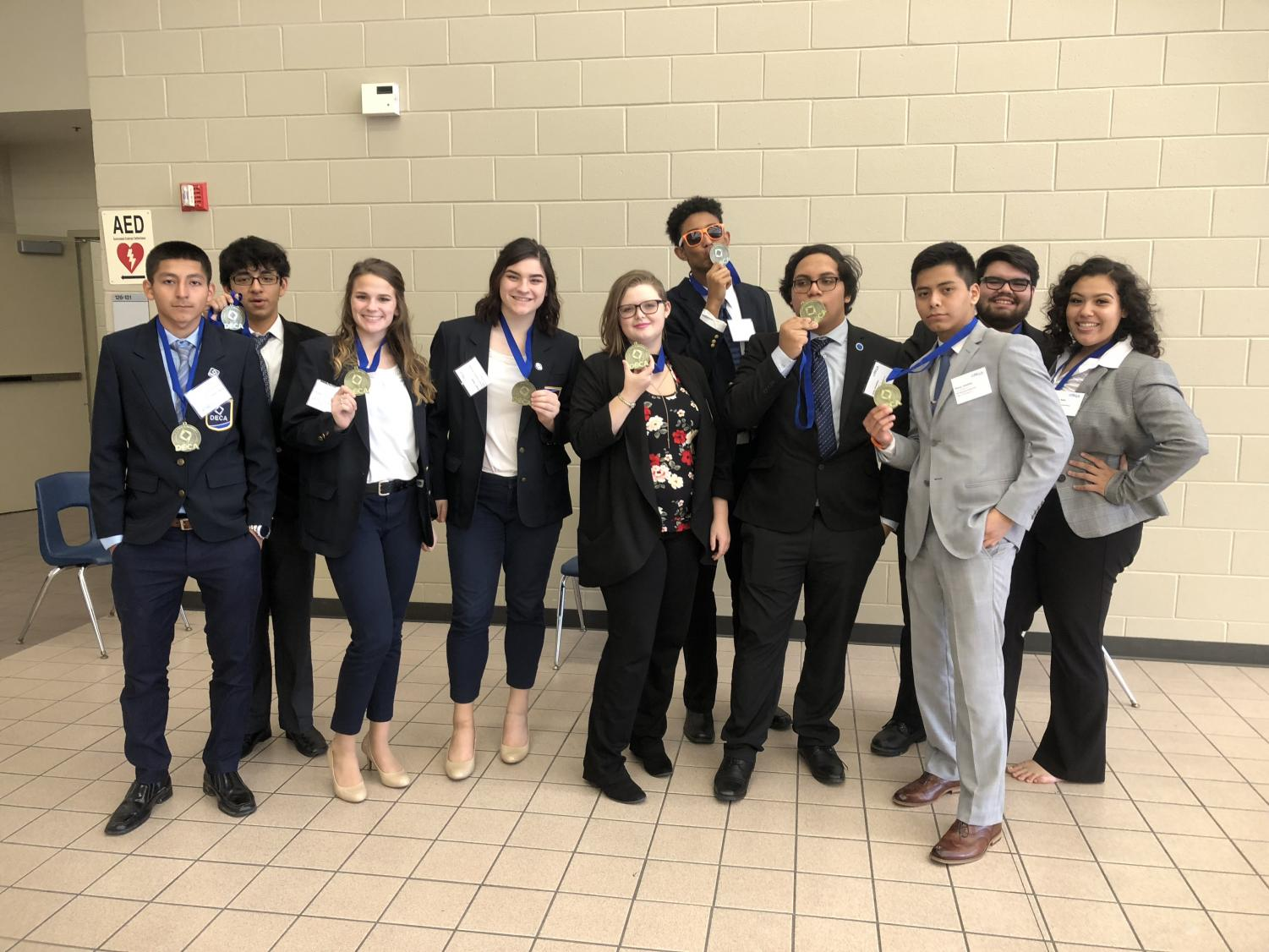 STATE-BOUND 10 DECA members qualified for the state competition which was held in Dallas, TX. Members include: Lazaro Yanez, Jacob Hernandez, Tori McVey, Shaylin Ardoin, Katrina Kelly, Nicholas Davis, Jonathan Leiva, Jonathan Ponce, Lazaro Villalobos, Karla Chavarria