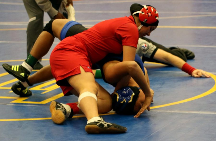 PINNED+DOWN.+Junior+Linda+Marroquin+wrestles+at+the+regional+tournament+Feb.15-16+at+Pflugerville+Weiss+High+School.+Both+Marroquin+and+senior+Juan+Martinez+advanced+to+the+state+competition.
