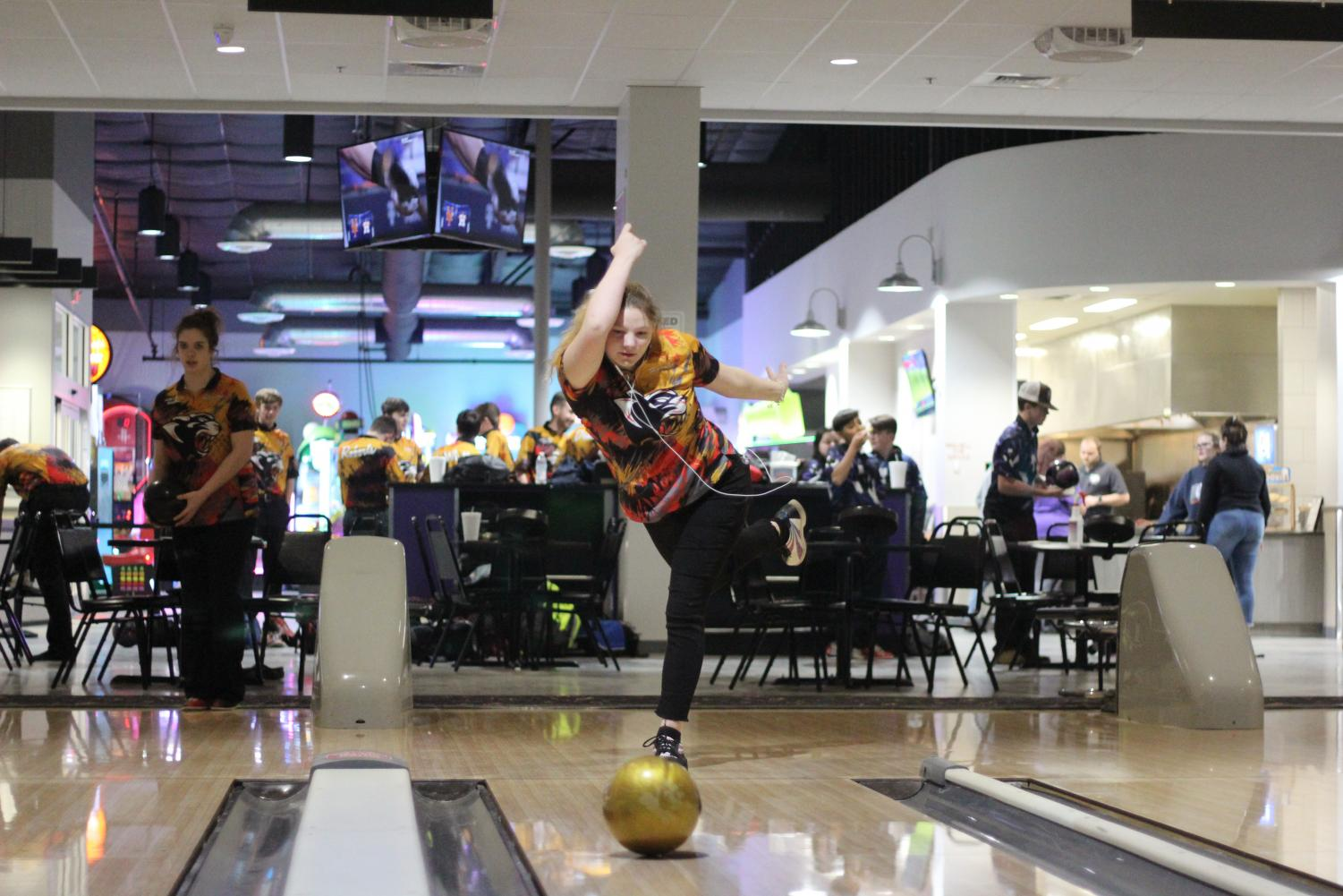 STRIKE. Senior Haylee Raska bowling a strike  in the sixth frame at Time to Spare Feb. 25.