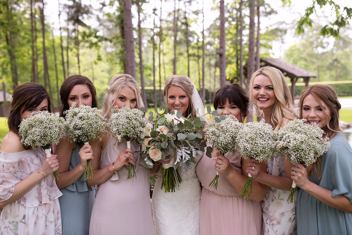 Brittany Hays poses with her bridesmaids