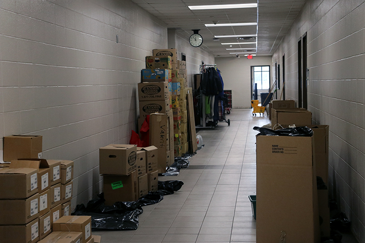 Communitys In School office is cleared out due to water damage.