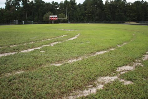 Tire tracks from an unknown person ruined the Caney Creek High School football field Sunday, Sept. 8 about 2 a.m. Police are still looking for suspects in the case.