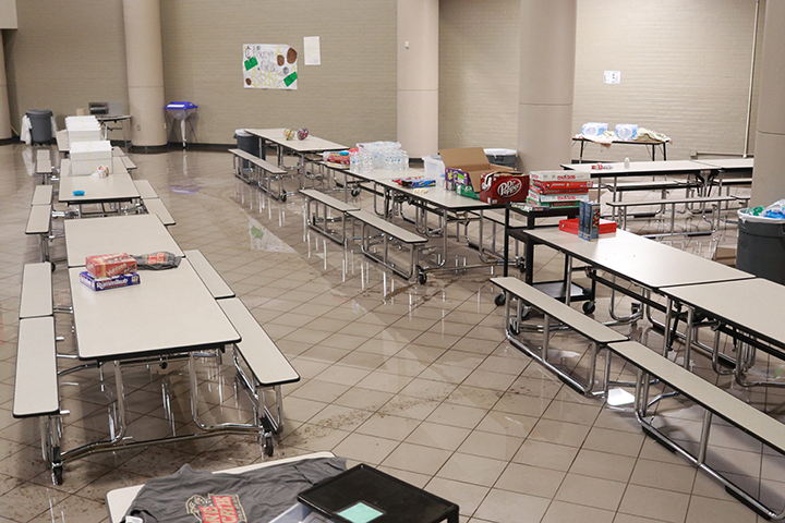 The small cafeteria eventually flooded before those at the school were sent to the library on the second floor.