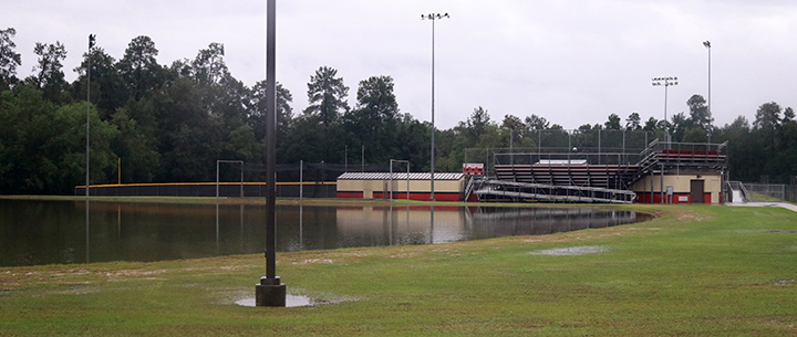 The retention ponds were overflowing on every side of the school.