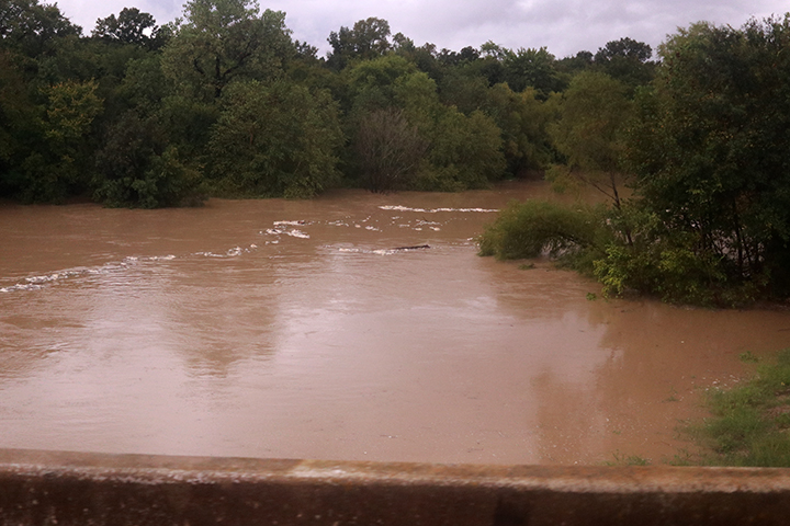 The San Jacinto River was flowing at full force.
