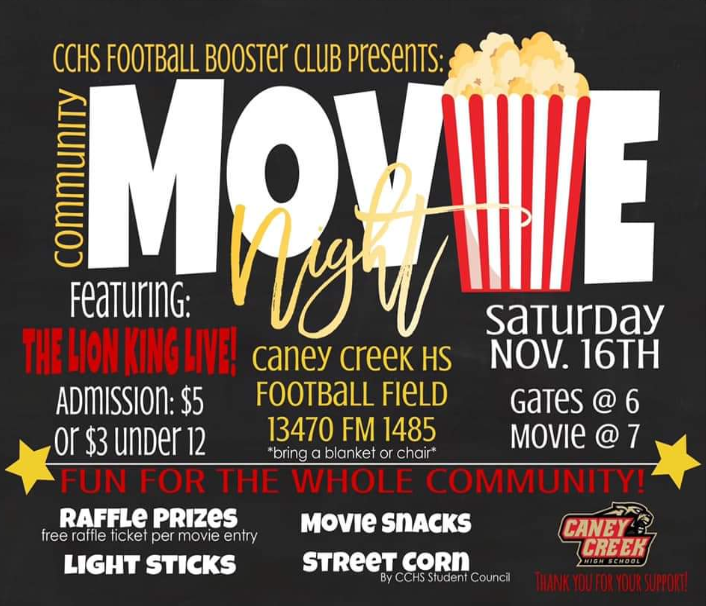 PROMOTIONAL FLYER. The football booster club hung up posters around the school to advertise their movie night.