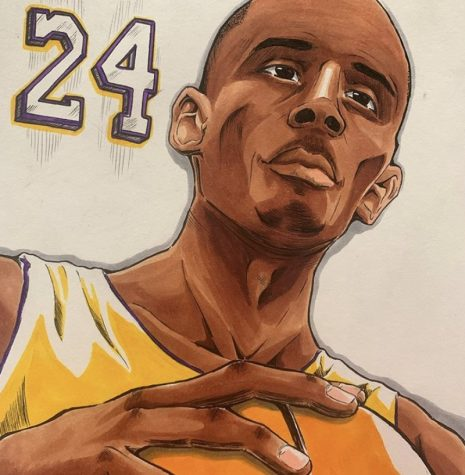 In honor of Kobe Bryant, student Jordon Olivares draws him.