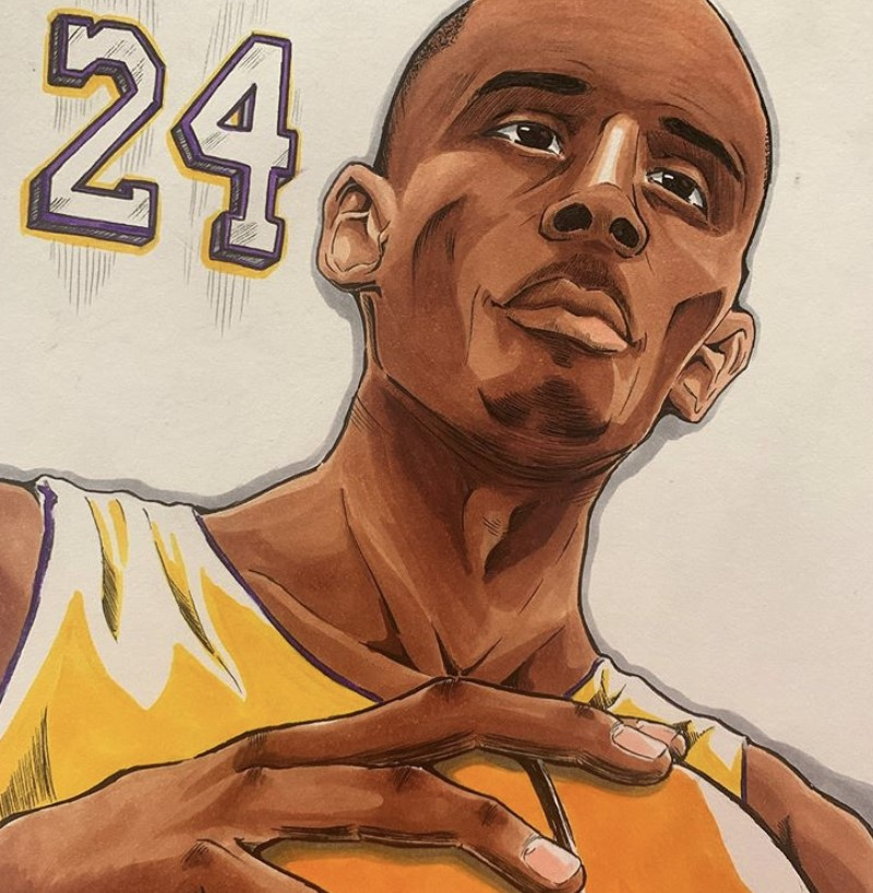 In+honor+of+Kobe+Bryant%2C+student+Jordon+Olivares+draws+him.