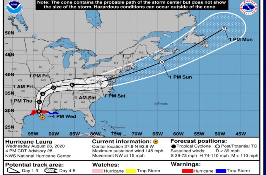 Hurricane Laura forecast track and intensity. Provided by National Weather Service.