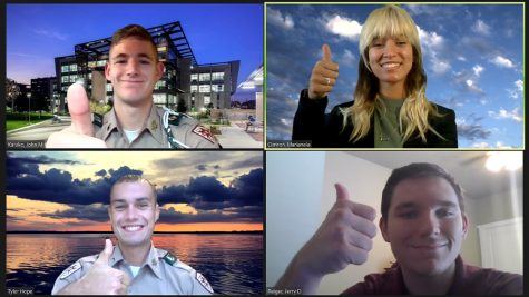 UT YOUR MIND TO WORK. At left: Caney Creek alumnus Jerry Reiger (bottom right) and members of his team John Karako (top left), Marianela Cintrón (top right), and Tyler Hope pose during a Zoom call. The Aggies Against COVID-19 Virtual Competition began in April. At right: The prototype design of the Sterilite the group released in April.