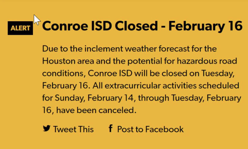 In+a+post+that+had+been+released%2C+Conroe+ISD+will+be+close+on+Tuesday.