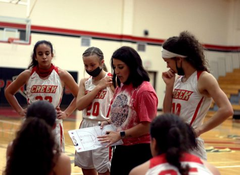 Girls basketball coach Kasey Tiech aids team before game against Klein Cain High School.