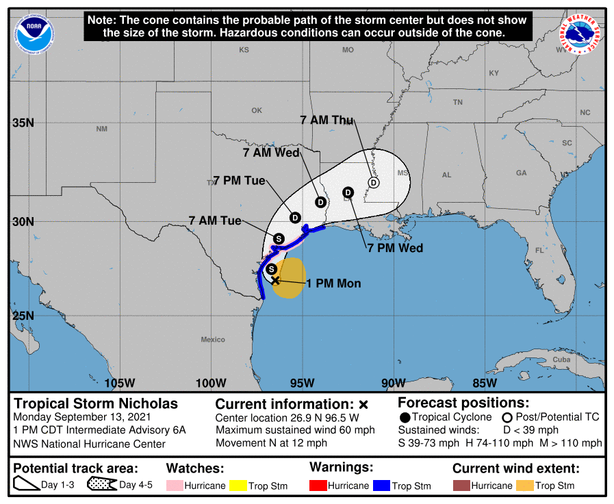 Tropical Storm Nicholas is expected to make landfall early Tuesday morning/late Monday night and turn east toward the Caney Creek area.